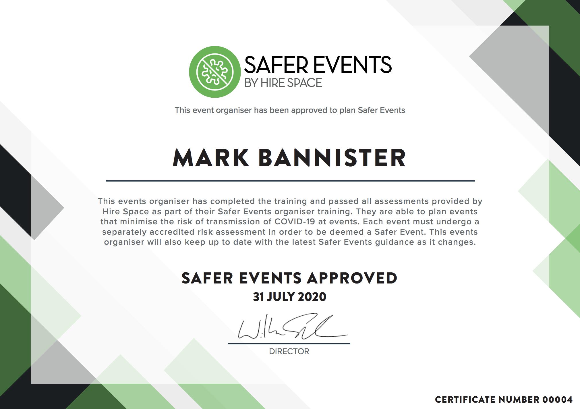 Safer Event Organiser Certificate